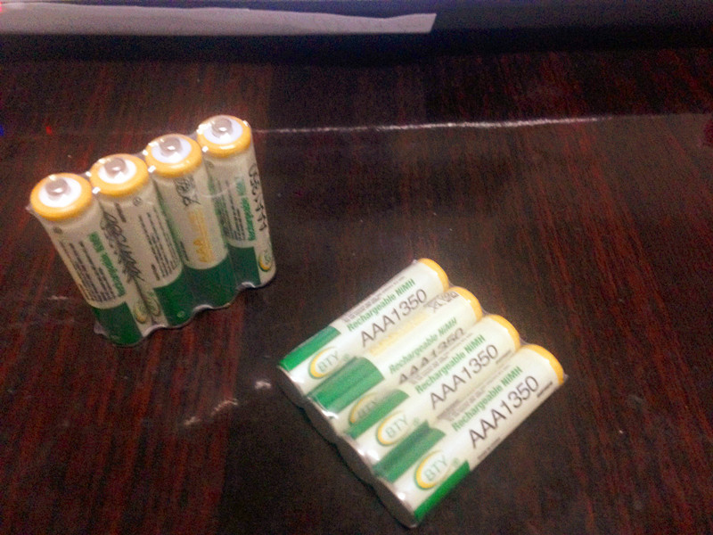 Free shipping 12pcs/lot 1.2V 1350mAh Rechargeable AAA Battery,Original BTY Brand White Green Batteries(China (Mainland))