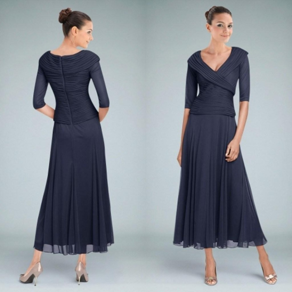 Dark navy tea length mother of the bride dresses with for Wedding dresses for mother of bride