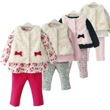 LittleSpring Retail 3pcs baby sets new 2016 fashion brand Girls flower baby clothes bow suits baby girl suit clothing sets(China (Mainland))