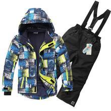Children's Winter Clothing Set Boys Windproof Child Ski Suit Outdoor Hooded Sports Jacket+Bib Pants 2pcs Boys Ski Suit