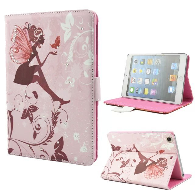High Quality 9.7inch Folio Stand Butterfly Fairy PU Cover With Bling Diamond Leather Case For iPad Air/5 with Buckle(China (Mainland))