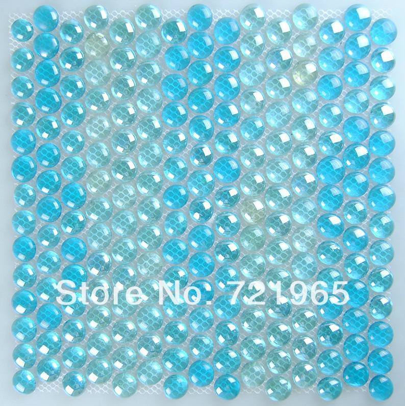 Penny round crystal glass mosaic tile CGMT206 blue glass tiles mosaic kitchen mosaic tile backsplash bathroom tile<br><br>Aliexpress