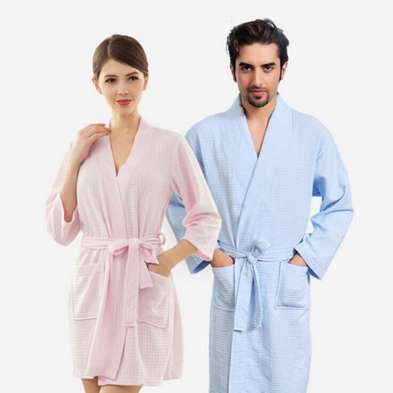 Lovers Kimono Waffle Sleepwear Bath Robe Femme Sexy Peignoir Women Dressing Gown Men Navy Long Bathrobe Thin Bridesmaid Robes(China (Mainland))
