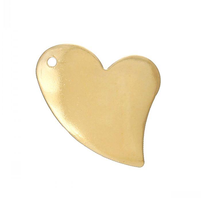 "Retail Brass Blank Stamping Tags Pendants Love Heart Light Golden 20mm x 16mm(6/8"" x 5/8""),100PCs(China (Mainland))"