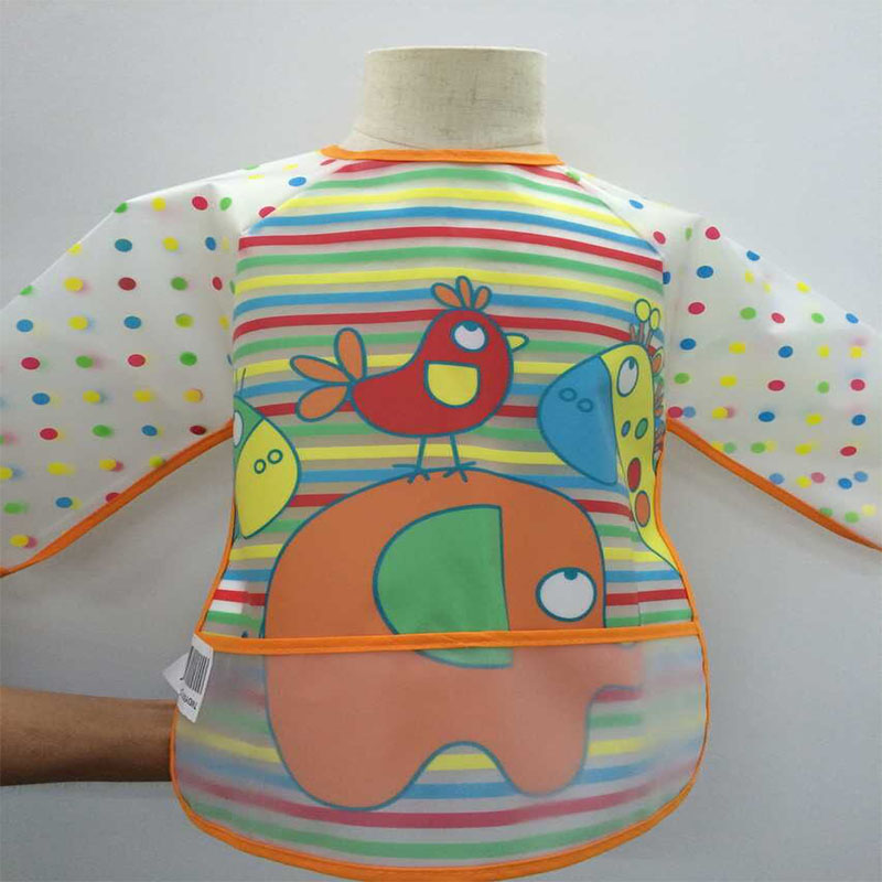 New Toddler Coverall Feeding Baby Long Sleeve Bib Apron With Cute Animals And Waterproof Backing Saliva Burp Apron Overclothes