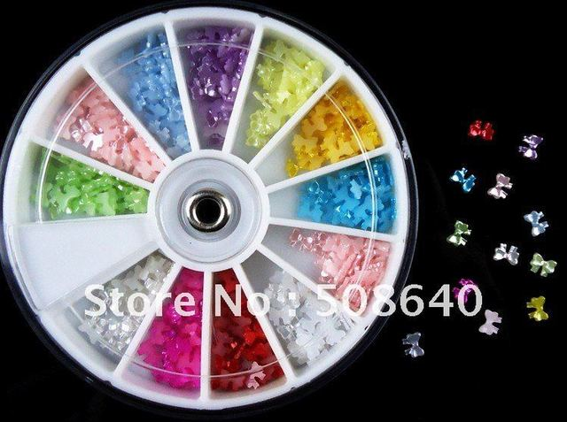 12colors 5x4mm Bow Pearls Decoration 1000pcs+Wheel For Nail Art Desgin & Beauty / Products Wholesale 050
