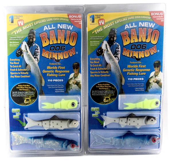 110pcs banjo 006 minnow vissen lokt minnow vissen lokken aas set sport set kit Soft plastic bait(China (Mainland))