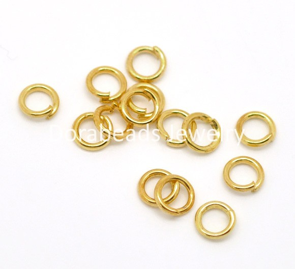 "Free Shipping! Gold Plated Open Jump Rings 5mm(1/4""), sold per lot of 1000 (B16977)(China (Mainland))"