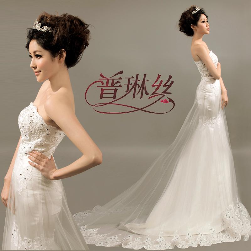 Diamond Fishtail Wedding Dresses : Discount spring enchanting soft satin fishtail lace