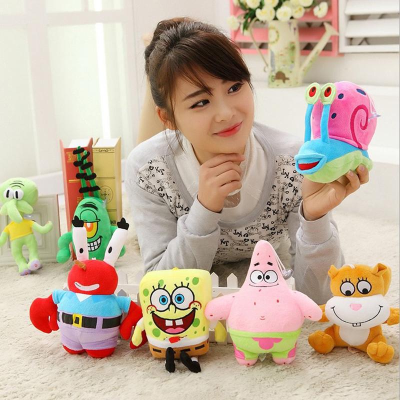 A set 7pcs SpongeBob high-quality Plush Toys Stuffed dolls Sponge Bob/Patrick/Crab/Plankton/Octopus/Snail kids toys gift(China (Mainland))