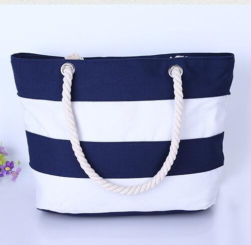 Women Canvas Bag Single Shoulder Shopping Handbag Striped Beach Bag Women Shoulder Handbags Canvas Women Tote bags(China (Mainland))
