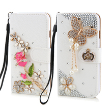 New Luxury crystal rhinestone rose flower butterfly  Wallet style bling Diamond DIY crown phone case for iphone 5 5s 6 6plus(China (Mainland))
