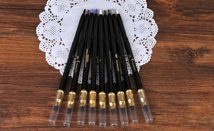 Lomeou Automatic Eyeliner Pencil With Sponge Eraser Brush Eyeliner Pen Eye Pencil Eyeshadow Makeup 14 Color Optional(China (Mainland))