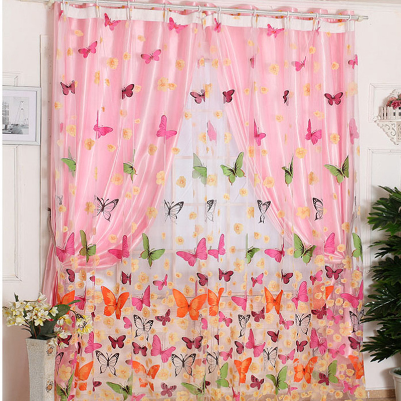 Hot selling!!!200cm x 100 cm Butterfly Print Sheer Window Panel Curtains Room Divider New for living room bedroom IB073 P(China (Mainland))