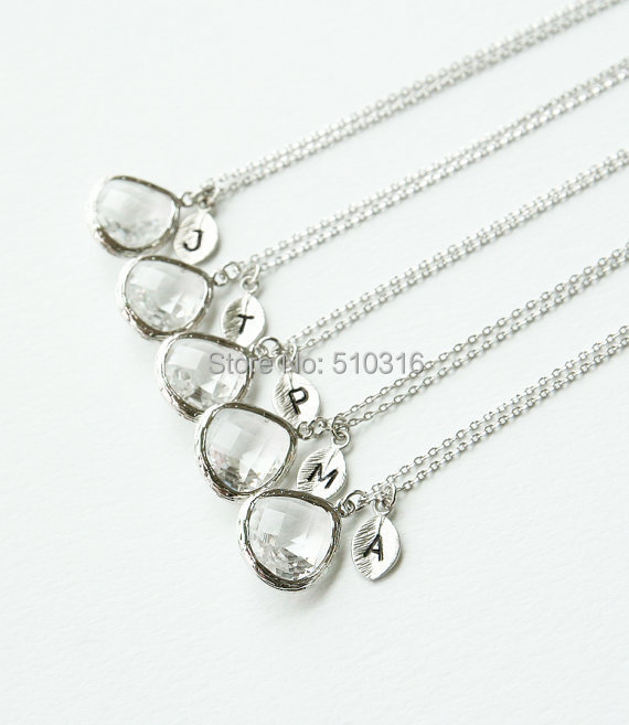 6sets/30pcs 2015 Silver Crystal Initial J T P M C Leaf Charms Double Pendants Necklace Bridesmaid Gifts<br><br>Aliexpress