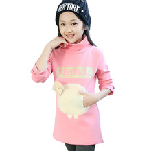 Kids 2015 autumn and winter fashion plus velvet girls lamb Korean cotton long-sleeved and long sections(China (Mainland))