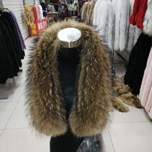 Real Raccoon Fur Scarf Women 100% Natural Raccoon Fur Collar Winter Warm Fur Collar Scarves Design For Lady Long 80cm Width 17cm(China (Mainland))
