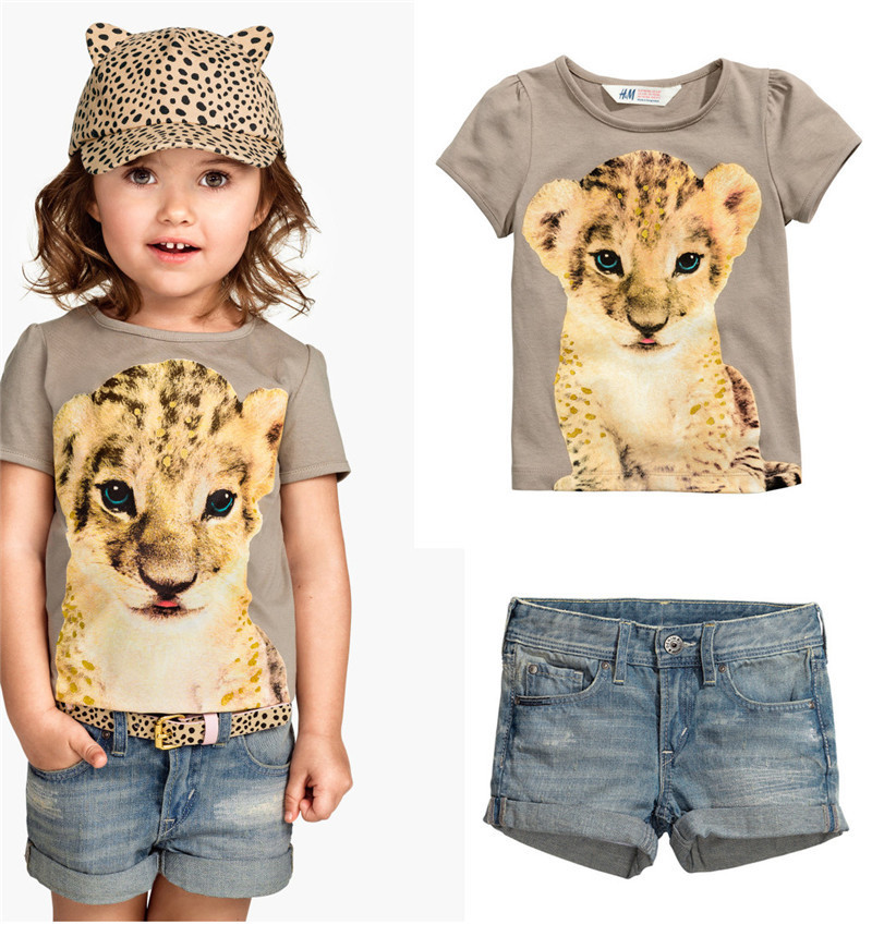 Free shipping 2015 explosion models cute tiger girls summer children's clothing collection cowboy suit summer children suit(China (Mainland))
