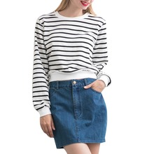 New 2016  Women Black White Horizontal Striped Hoodies Full Sleeve O-neck Loose Sweatshirts Pullovers Crop top SummerStyle 771(China (Mainland))