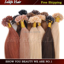 Drop shipping Women's Long Straight U Tip Hair Extensions 22inch 0.6g/piece 60g/package Nail Hair Extensions Real Natural Hair