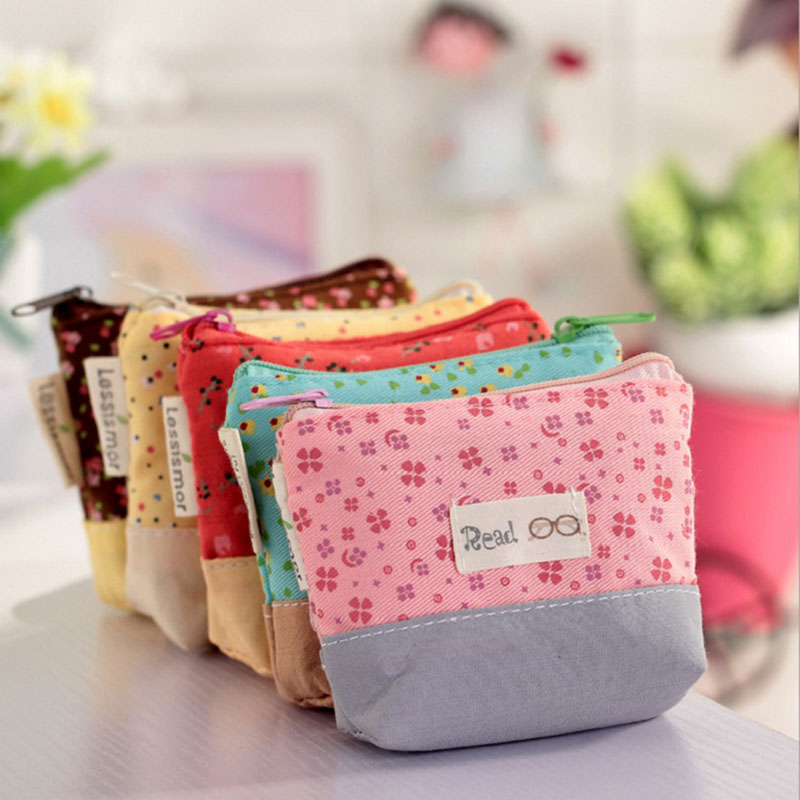 Ladies Cheapest Canvas Cute Flowers Small Change Coin Purse Little Key Car Pouch Money Bag,Girl's Mini Short Coin Wallet(China (Mainland))