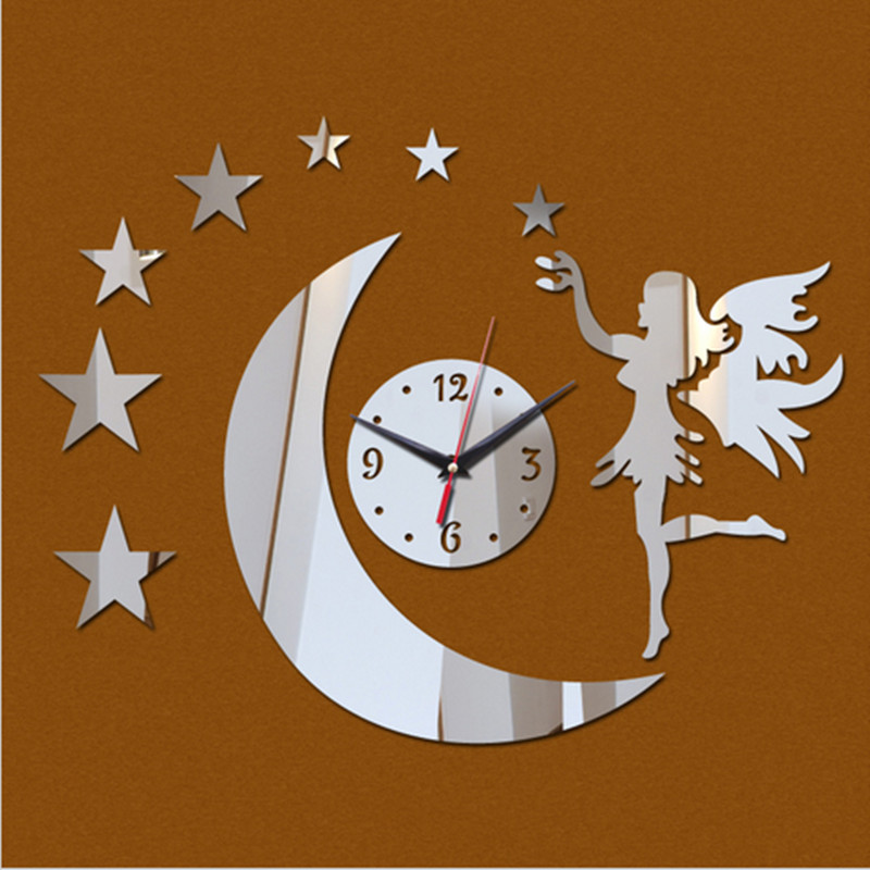 Stars Girl Angel Watch Wall Home Decoration Diy clock Mirror Quartz Clocks Living Room Design - Love No8 store