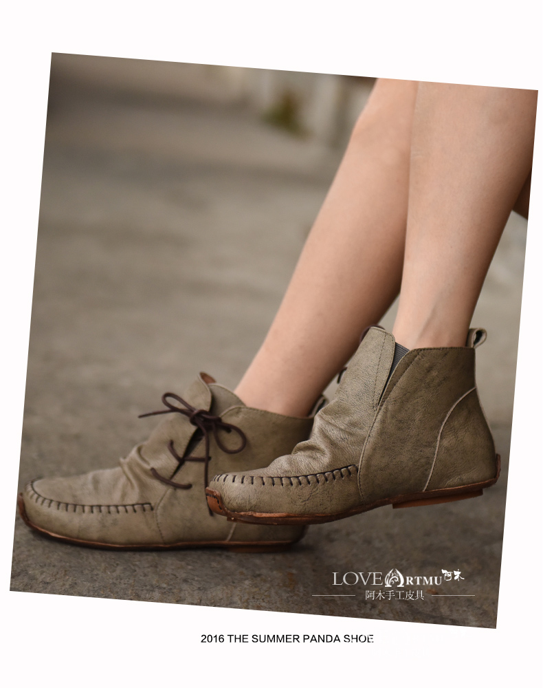 Original 2016 Autumn and Winter New Retro Art calf Genuine Leather Shoes Handmade Comfortable Flat Ankle Boots 44061
