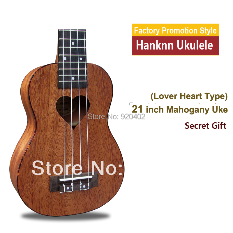 "Promotion 21"" Soprano Mahogany Ukulele Hawaii children wood musical instrument acoustic guitar uke guitarra ukelele Lover heart(China (Mainland))"