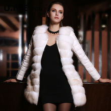 UNE 2014 New France Xuehu fox fur collar down jacket and long sections Slim leather leather women(China (Mainland))