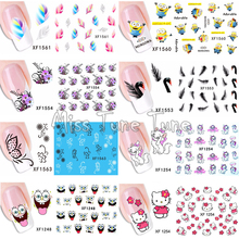 1 Sheet Hot Flower Cats Floral Feather Cartoon Water Transfer Sticker Nail Art Decals Wraps Tattoos Watermark Nail Tools