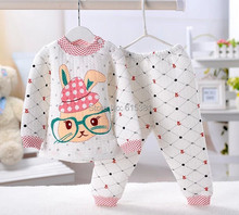 hot selling set new 2015 brand babys cotton sleepwear boys pyjamas girls cartoon clothing kids pajama 2 pcs set  free ship(China (Mainland))