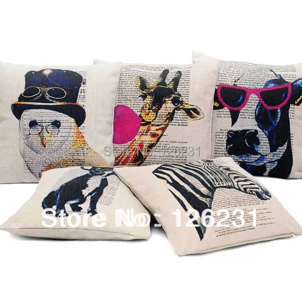 Animal Pillows Bulk : Wholesale 5pcs Creative Animals Pillow Cotton Linen Cushion Cover 45*45CM Pillows Decorate ...