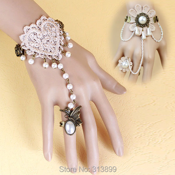 Mix Sale 2015 New Arrival Gothic Vintage Party Bangle Beige Lace Bracelet With Beads Handmade Making Women Costume Accessories(China (Mainland))