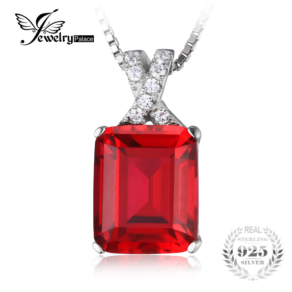 JewelryPalace Emerald Cut 6.1ct Created Red Ruby Pendant 925 Sterling Silver Unique Design Jewelry For Women 2016 No Chain(China (Mainland))