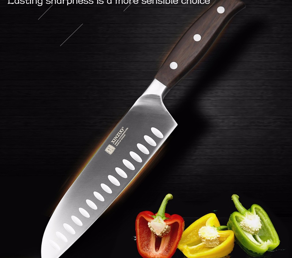 Buy XINZUO 7 inch santoku knife GERMAN DIN1.4416 steel kitchen knife very sharp Japanese style chef knife kitchen tool free shipping cheap