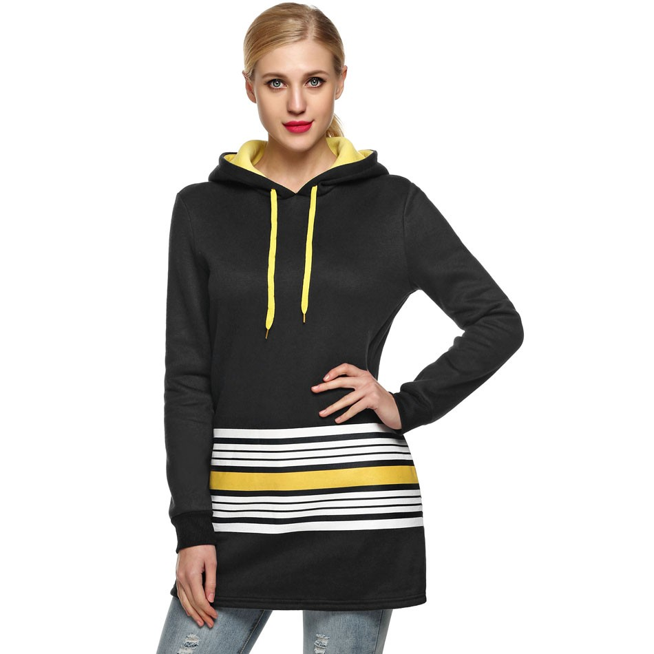 Women Hoody Striped Pockets Long Sleeve Hooded Warm Long Sweatshirt Pullover Hoodie Coat Hoodies PLUS SIZE 3XL 3Colors(China (Mainland))