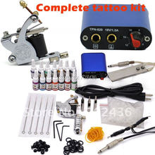 Professional Tattoo Kit Set 1 Tattoo Machine Guns 14 Color Inks Power Supply body art DHL or EMS Free shipping