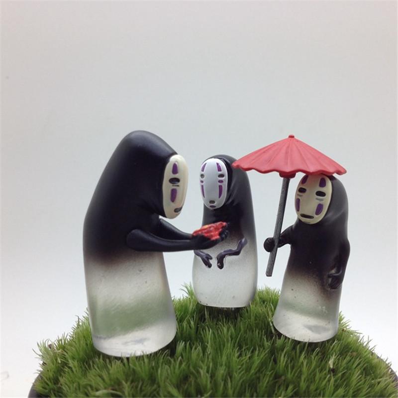 3pcs/lot Anime Toys Hayao Miyazaki Spirited Away With Candy PVC Faceless Men No Face Animation Model Collection Kid Gift B010(China (Mainland))