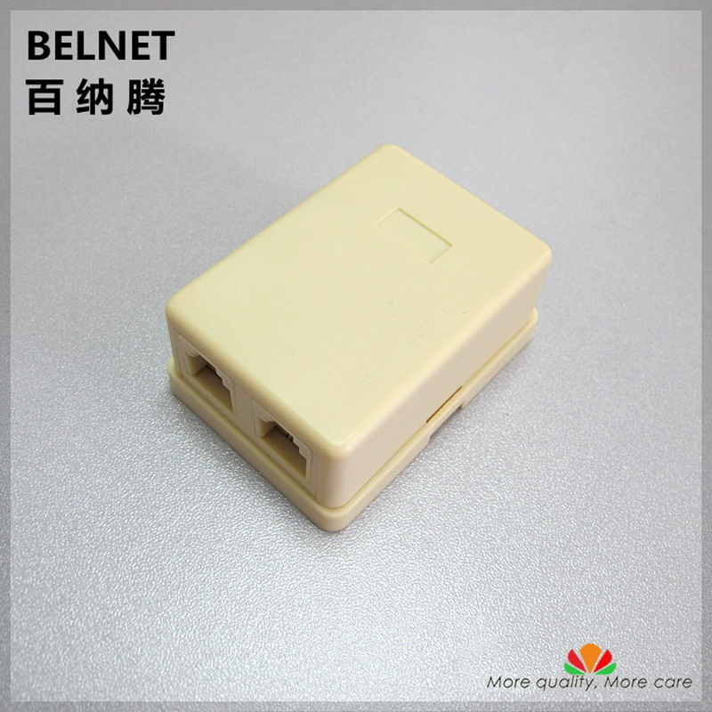 2-port Easy Desktop box telephone junction box 1 into 2 phone line extender box splitter telephone line RJ11 connector(China (Mainland))