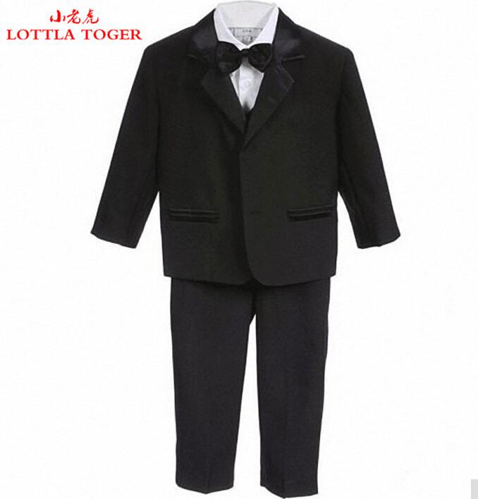 High Quality Baby boy tuxedo suit for wedding child blazer clothing set 5pcs:coat+vest+shirt+tie+pants boy formal dress 1-3year(China (Mainland))