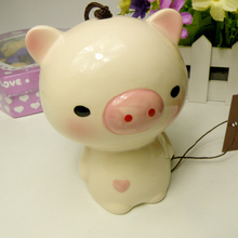 Best Gift Cute Pig Home Wedding Ceramic Decoration Hangings Door Wind Bell Car Decor Porcelain Figurines Japanese Wind Chimes