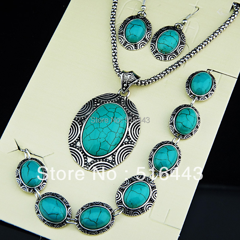 Vintage Antique Silver Turquoise Oval Earrings Bracelet Necklace Women Jewelry Set A671 - Edna store