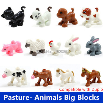 Retail Big Building Blocks- Pasture Animals Sheep Rabbit Dog Horse Pig Cat Cock Cow Compatible with Duplo Baby Educational Toys