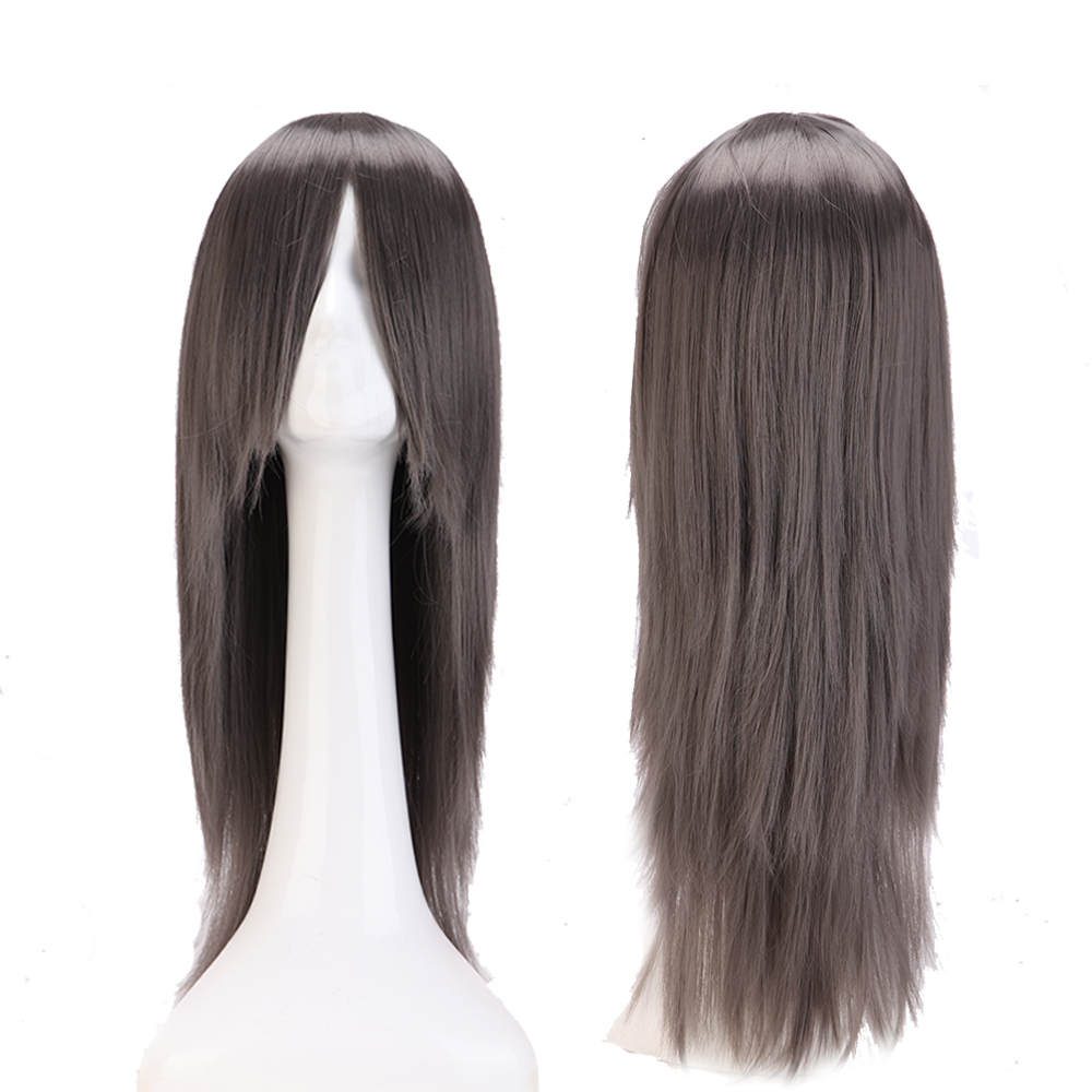 "Cosplay Wig Long Straight Anime Party Dress Synthetic Full Wigs (24"" 60cm Dark Gray)(China (Mainland))"
