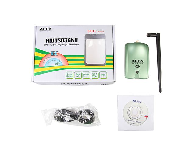 New High Power ALFA AWUS036NH 2000mw Wifi USB Adapter 5db Antenna Receiver Card Ralink3070 Chipset for PC Computer