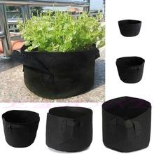 Schwarz Stoff Töpfe pflanzen Gemüse Beutel Runde Belüftung Topf Behälter wachsen Tasche(China (Mainland))