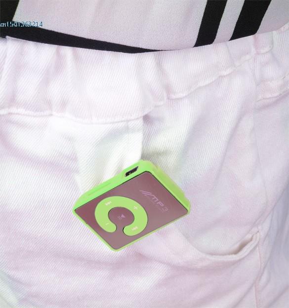 NEW HOT Free Shipping Mini Clip Mp3 Player/Sport Mirror Mp3 SD/TF Card C Button MP3 Music Media Green #7