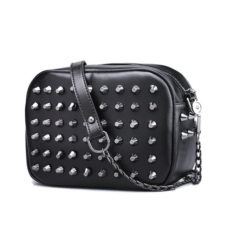 2016 New Fashion Trendy Rivet Chain bag Punk style PU leather messenger bag colors women bag Rock women cross-body bag WLHB1357(China (Mainland))