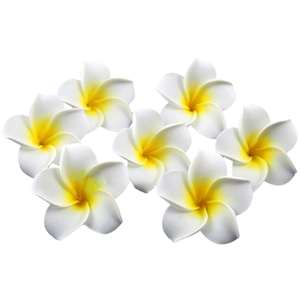 100PCS LOT 6CM Artificial Hawaii PE Plumeria flower Frangipani foam Flower FOR headwear wedding decoration