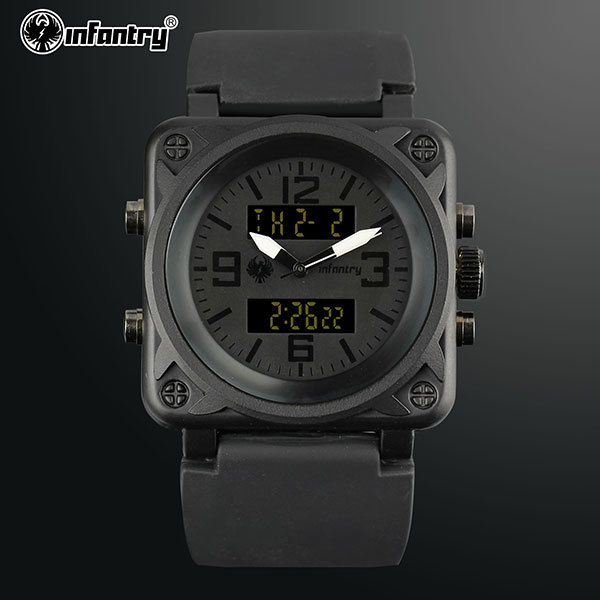 INFANTRY All Black Sports Royal Auto Date Alarm Men's LCD Digital Wristwatch Silicone Band NEW Chronograph Stop Watch(Hong Kong)